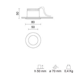 IVELA 238-239BN RA 8 L DIXIT LED 8.5W/3000K mat white