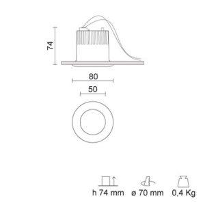 IVELA 238-250BN RA 8 L DIXIT LED 9W/3000K mat white